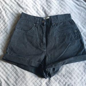 Black Denim High Waist Jean Shorts